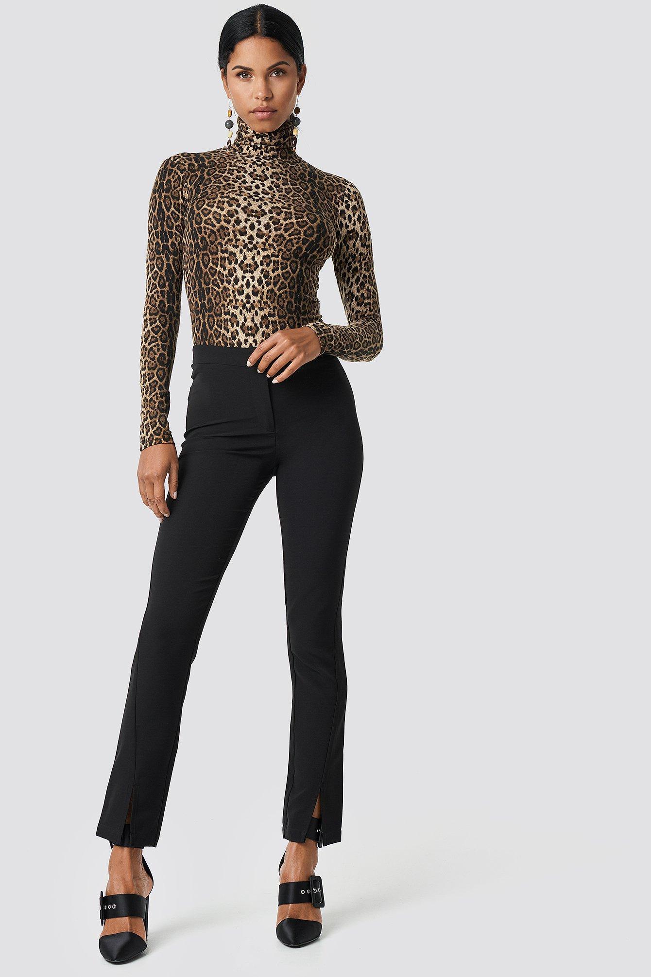 Na-kd Front Slit Suit Pants - Black