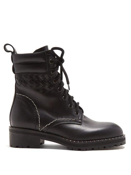 Bottega Veneta Chain-embellished Leather Ankle Boots In Black