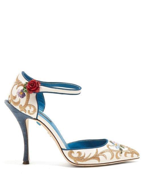 Dolce & Gabbana Embroidered Rose-embellished Leather Pumps