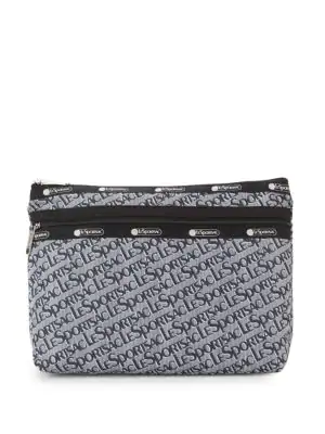 Lesportsac Large Taylor Logo Printed Pouch In Grey