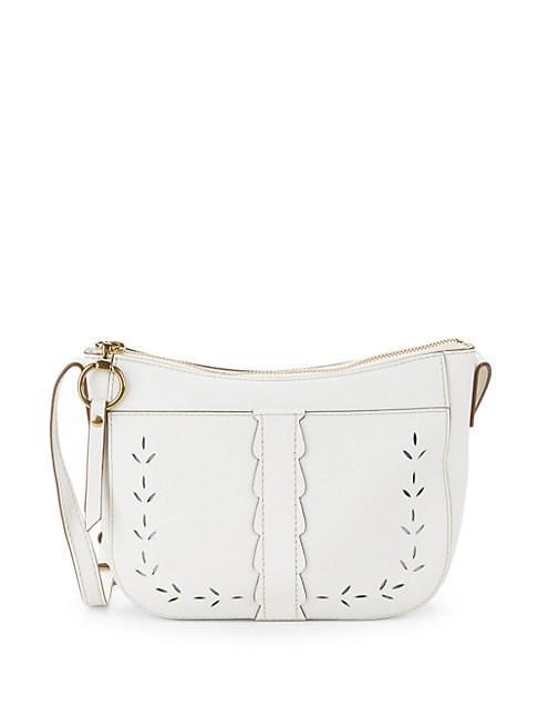 Frye Ilana Perforated Leather Saddle Crossbody Bag In White