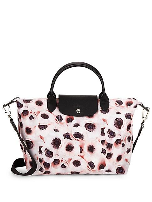 Longchamp Large Le Pliage Floral Printed Tote In Anemone Pink