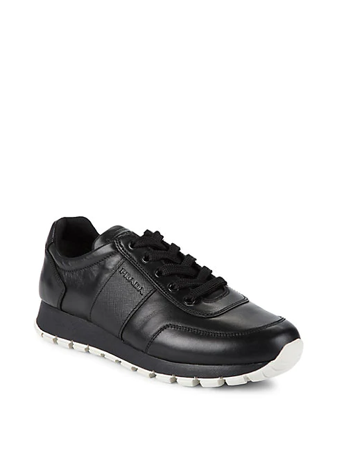 Prada Logo Lace-up Leather Sneakers In Black