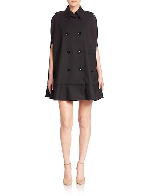 Valentino Double-breasted Coat In Black