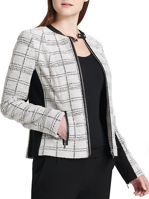 Calvin Klein Tweed Center Zip Jacket In Metallic Tweed
