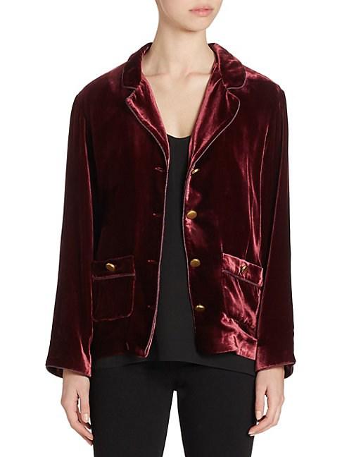 The Kooples Velvet Jacket In Burgundy