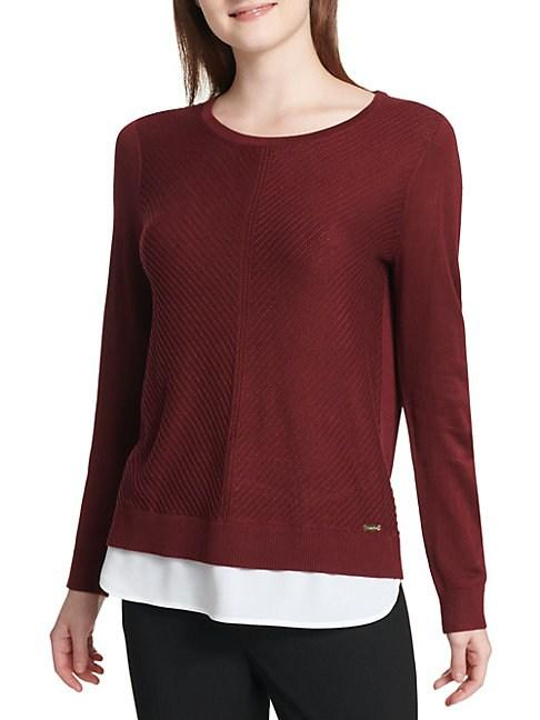 Calvin Klein Heathered Crewneck Two-fer Sweater In Rosewood