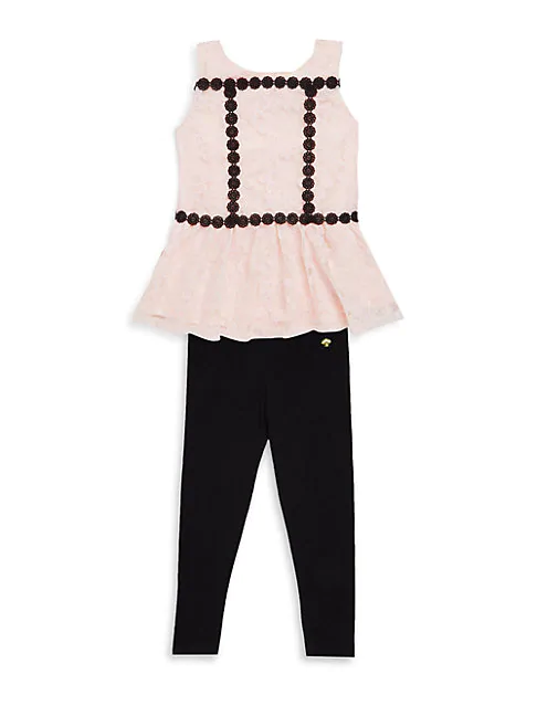 Kate Spade Little Girl's Two-piece Peplum Top And Leggings Set In Sonata
