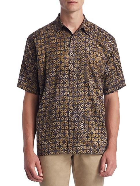Saks Fifth Avenue Collection Coffee Bean Cotton Button-down Shirt In Gold