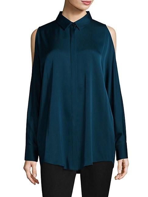 Donna Karan Cold-shoulder Shirt In Dragonfly