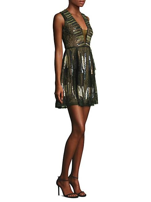 Bcbgmaxazria Fit-&-flare Mini Dress In Black Combo
