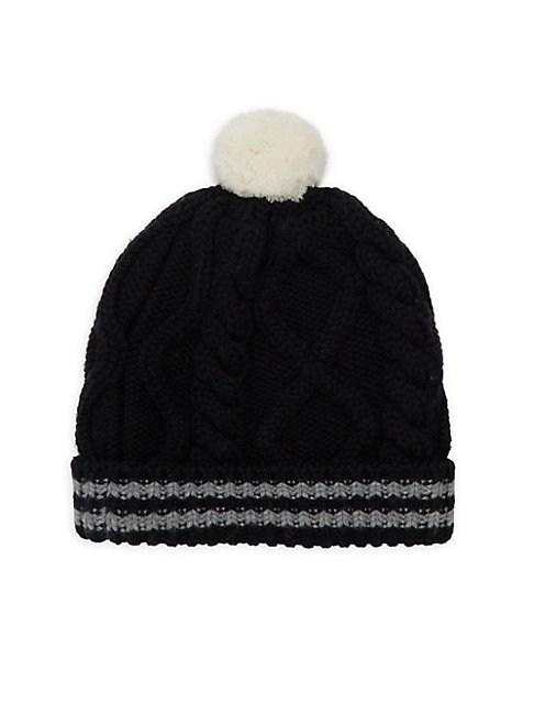 Portolano Cable Knit Beanie In Black Grey