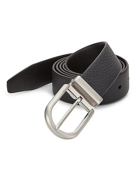 Giorgio Armani Textured Leather Belt In Blue