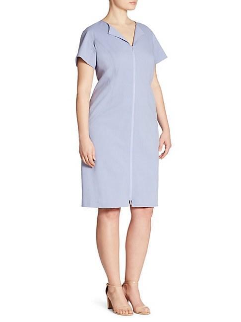 Lafayette 148 Plus Deja Zip-front Dress In Blue Belle