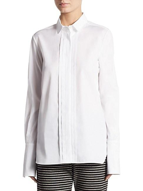 Weekend Max Mara Long-sleeve Collared Cotton Shirt In Optical White