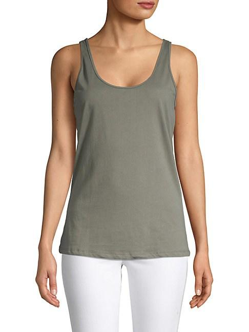 Monrow Scoop Tank Top In White