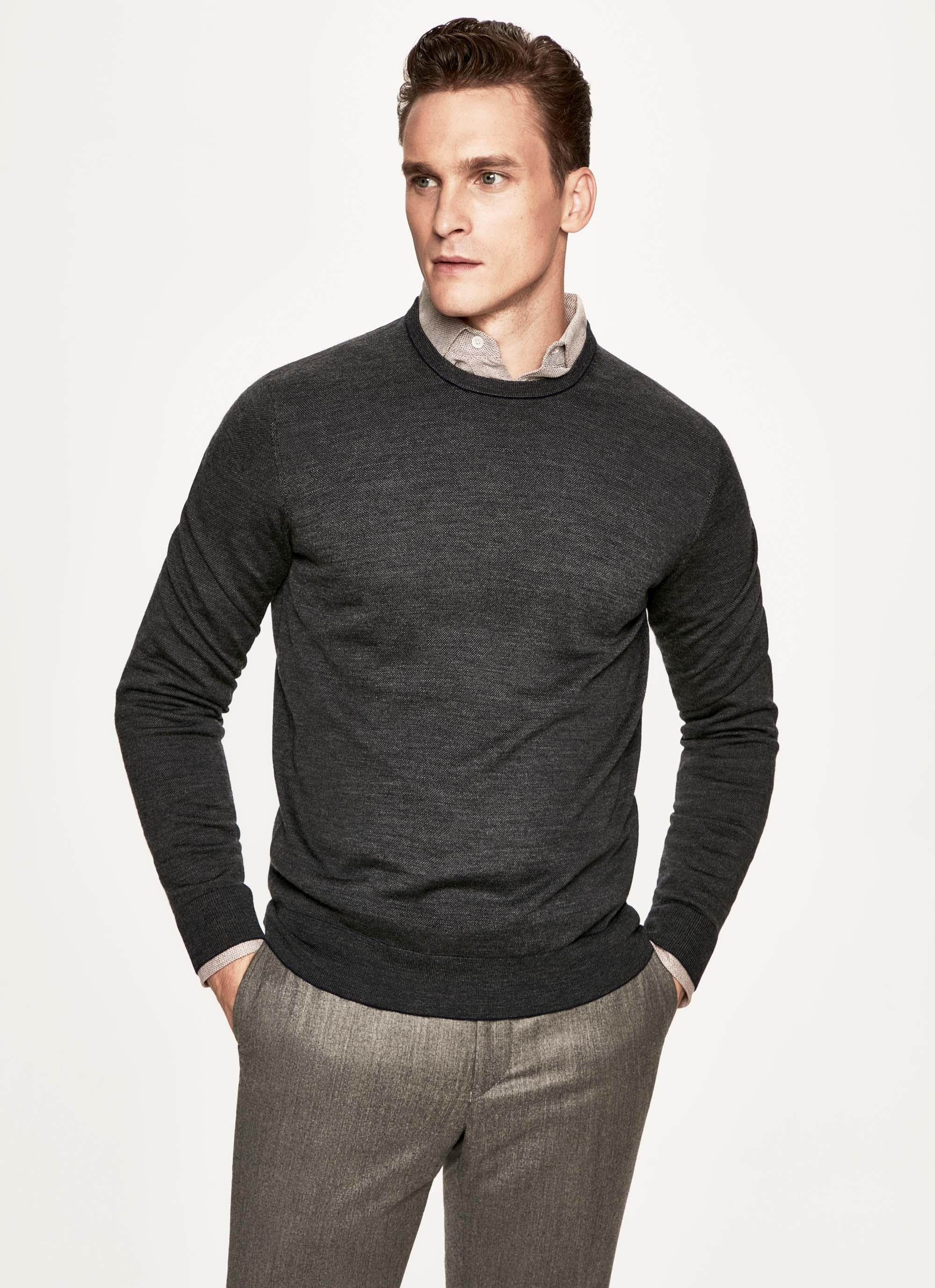 Hackett Jacquard Knit Wool, Cashmere And Silk Crew Neck Sweater In Navy