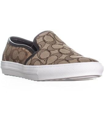 Coach C115 Perforated Slip On Sneakers, Khaki/chestnut In Ivory