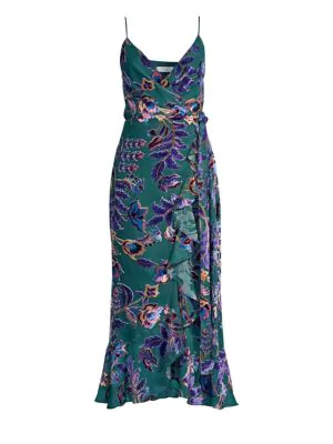 Patbo Burnout Velvet Wraparound Dress In Teal Multi