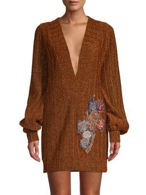 Patbo Plunging V-neck Embroidered Lurex Tunic In Copper