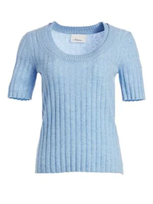 3.1 Phillip Lim Short Sleeve Cashmere-blend Rib-knit Top In Sky Blue