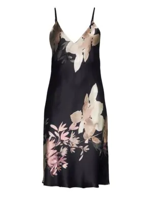 Natori Josie  Deco Silk Slip In Black-nude