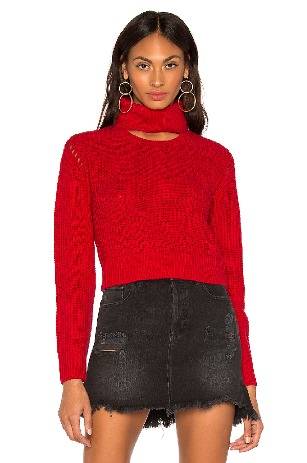 Kendall + Kylie Cotton Ribbed Turtleneck In Red