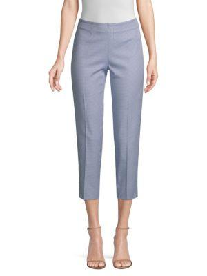 Piazza Sempione Audrey Checked Stretch Cropped Pants In White Blue