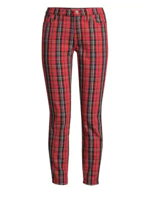 Current Elliott The Stiletto Plaid Cropped Trousers In Red Tartan Plaid