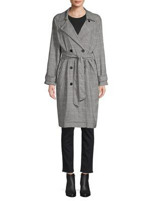 Joie Damonica Plaid Trench Coat In Caviar Multi