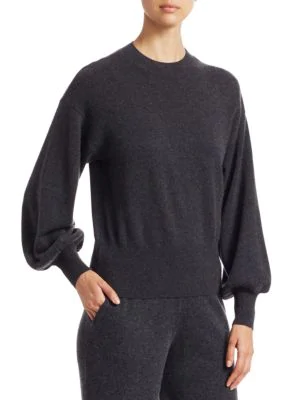Saks Fifth Avenue Collection Cashmere Blouson Sleeve Sweater In Charcoal Heather