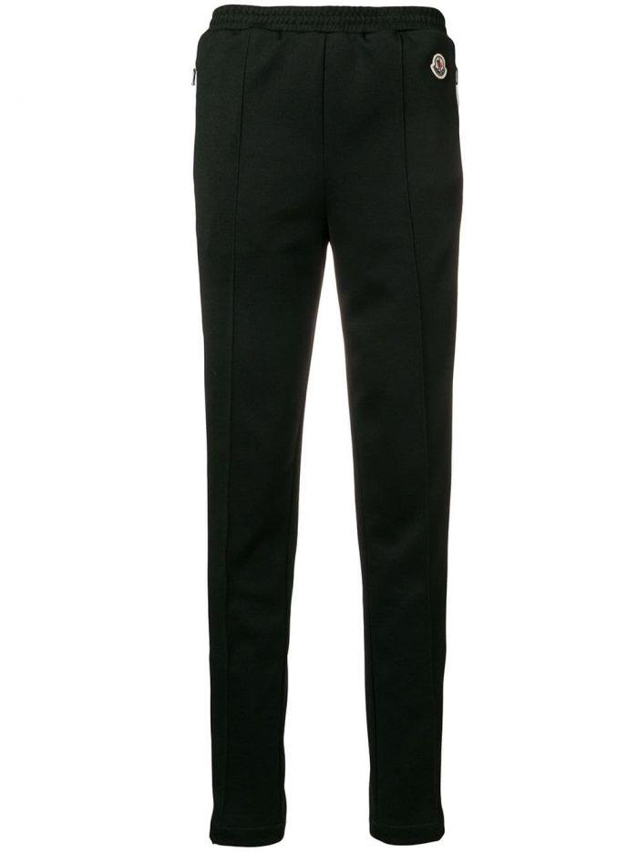 Moncler Trackpants With White Band On Sides In Black