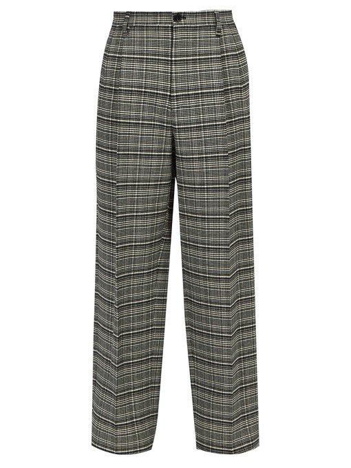 Raf Simons Relaxed Check Twill Trousers In Grey