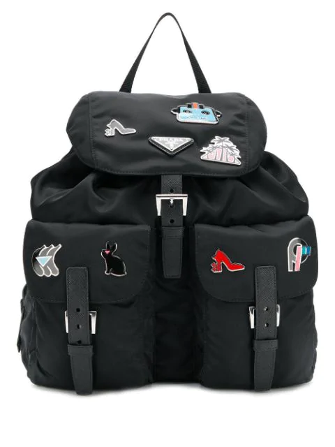 Prada Pin Embellished Backpack - Black