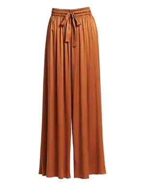 Zimmermann Silk Wide Leg Drawstring Pants In Cedar