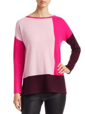 Saks Fifth Avenue Collection Cashmere Colorblock Tunic In Dark Plum