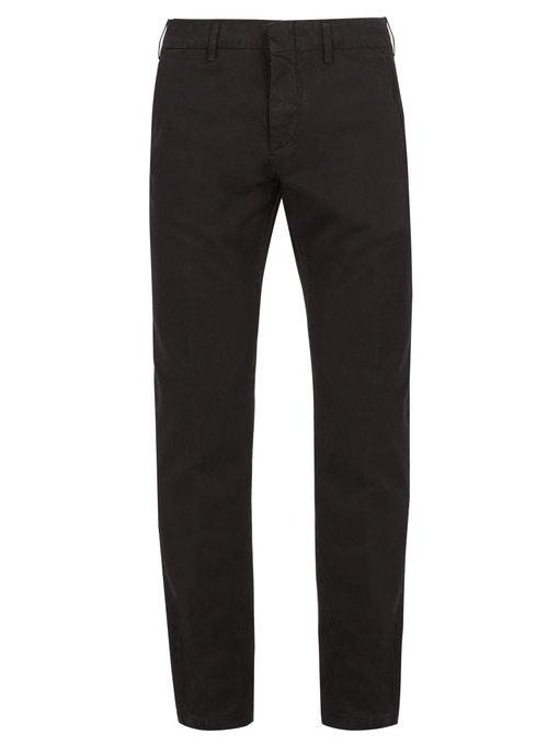 Dunhill Straight-leg Cotton Chino Trousers In Black