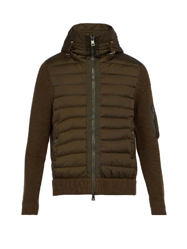 Moncler Hooded Wool-blend Knit And Quilted-down Jacket In Khaki