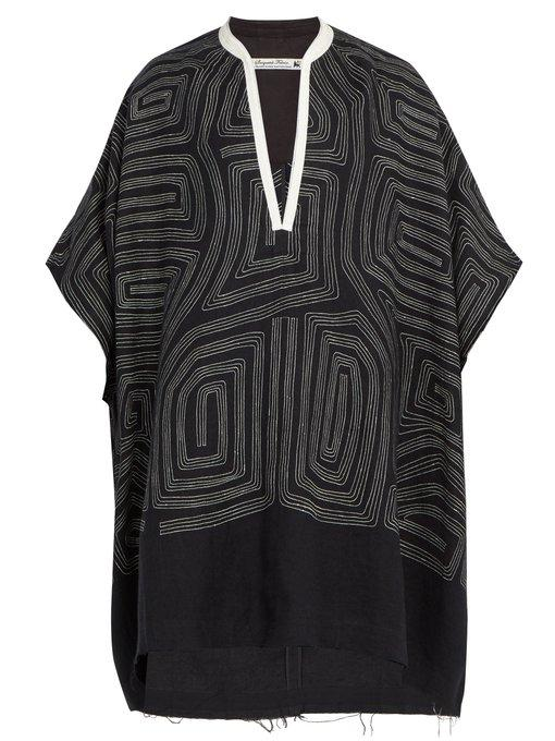 Sasquatchfabrix Embroidered Linen And Wool-blend Poncho In Black