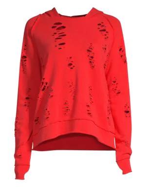Generation Love Sierra Punctured Hooded Sweatshirt In Red