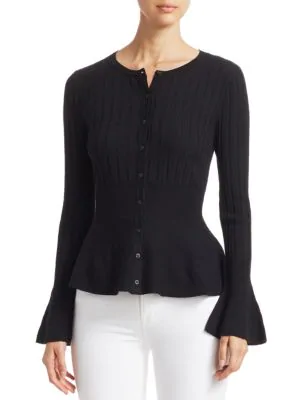 Saks Fifth Avenue Collection Wool Elite Ribbed Peplum Cardigan In Black