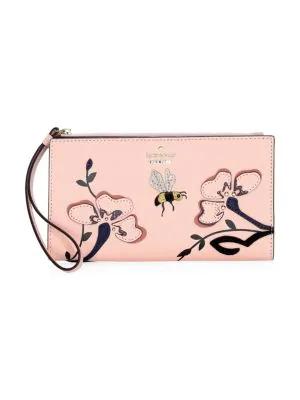 Kate Spade Eliza Garden Embellished Leather Wallet In Pink