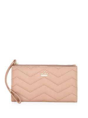 Kate Spade Eliza Zig-zag Stitch Leather Wristlet Wallet In Ginger Tea