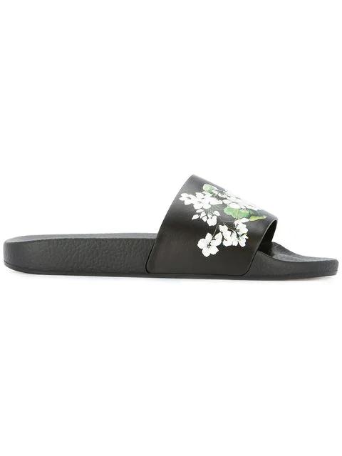 Dolce & Gabbana White Geranium Printed Slides In Black