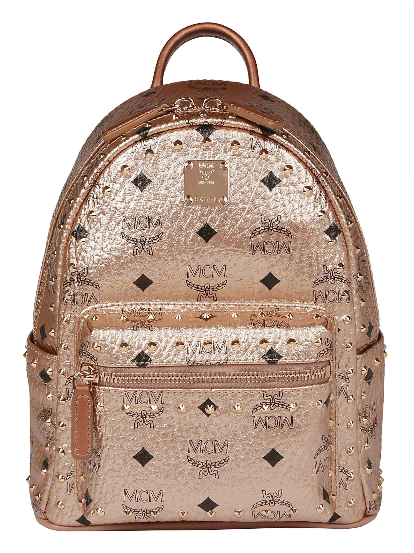 Mcm Mini Stud Stark Backpack In Champagne Gold
