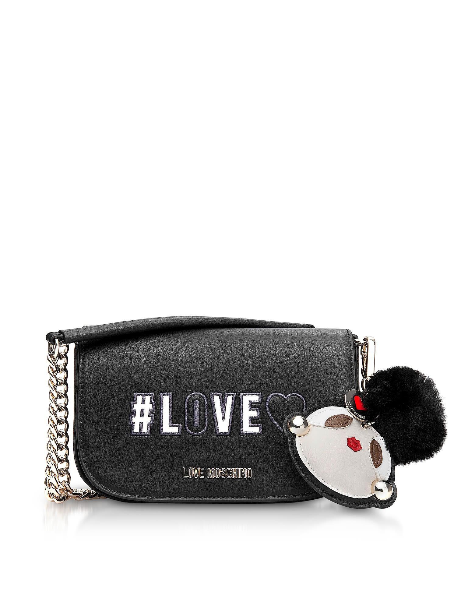 Love Moschino Love Flap Top Shoulder Bag In Black