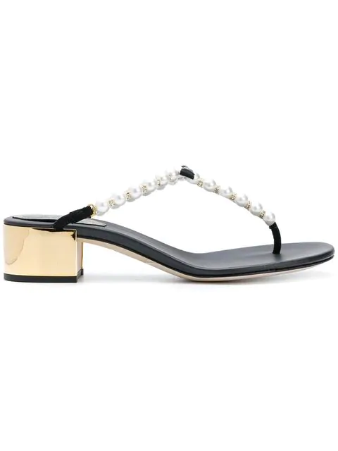 RenÉ Caovilla Pearl Embellished T-bar Sandals In White