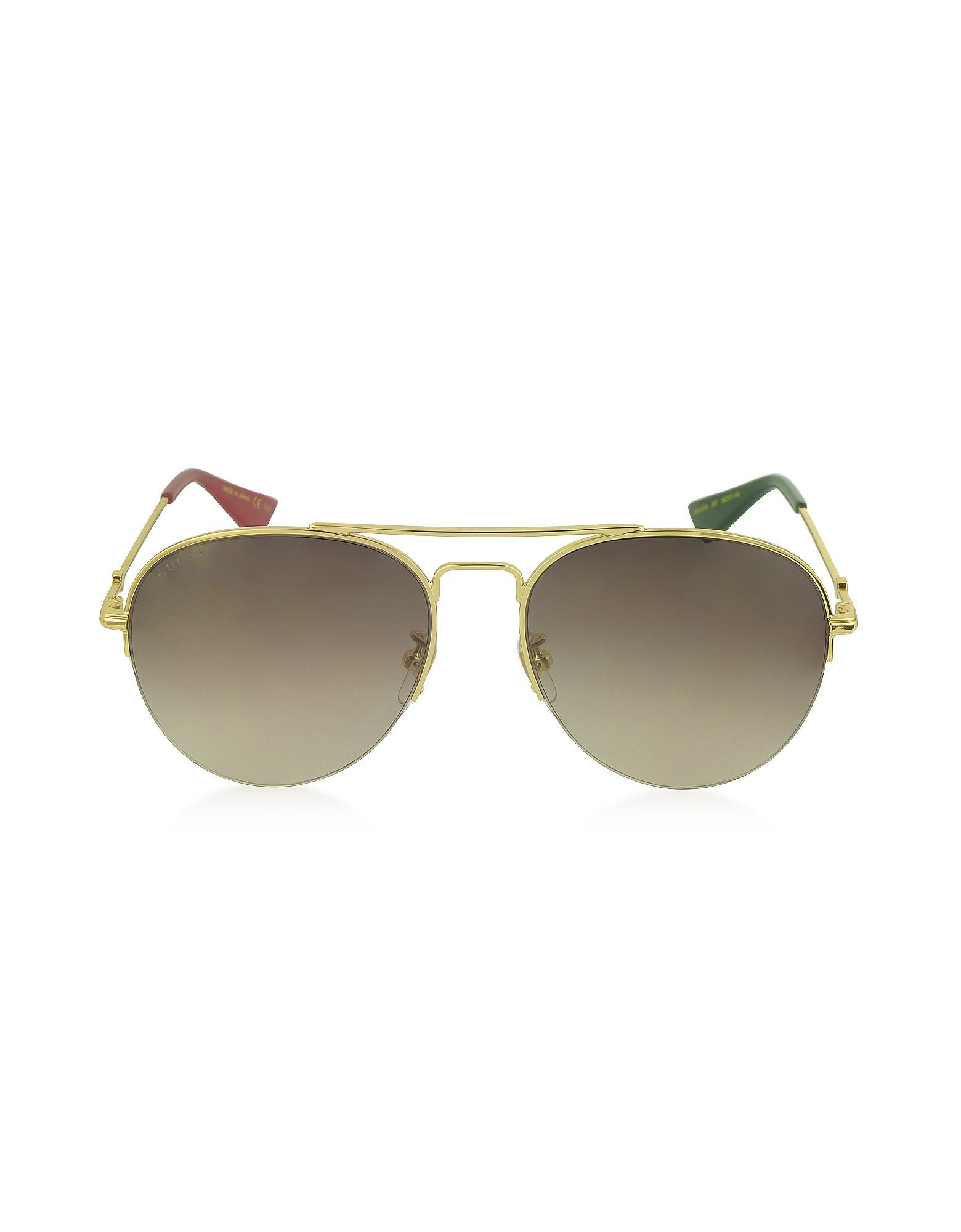 c58005c53d76 Gucci Gg0107S Metal Aviator Men s Sunglasses In Gold   Shaded Brown ...
