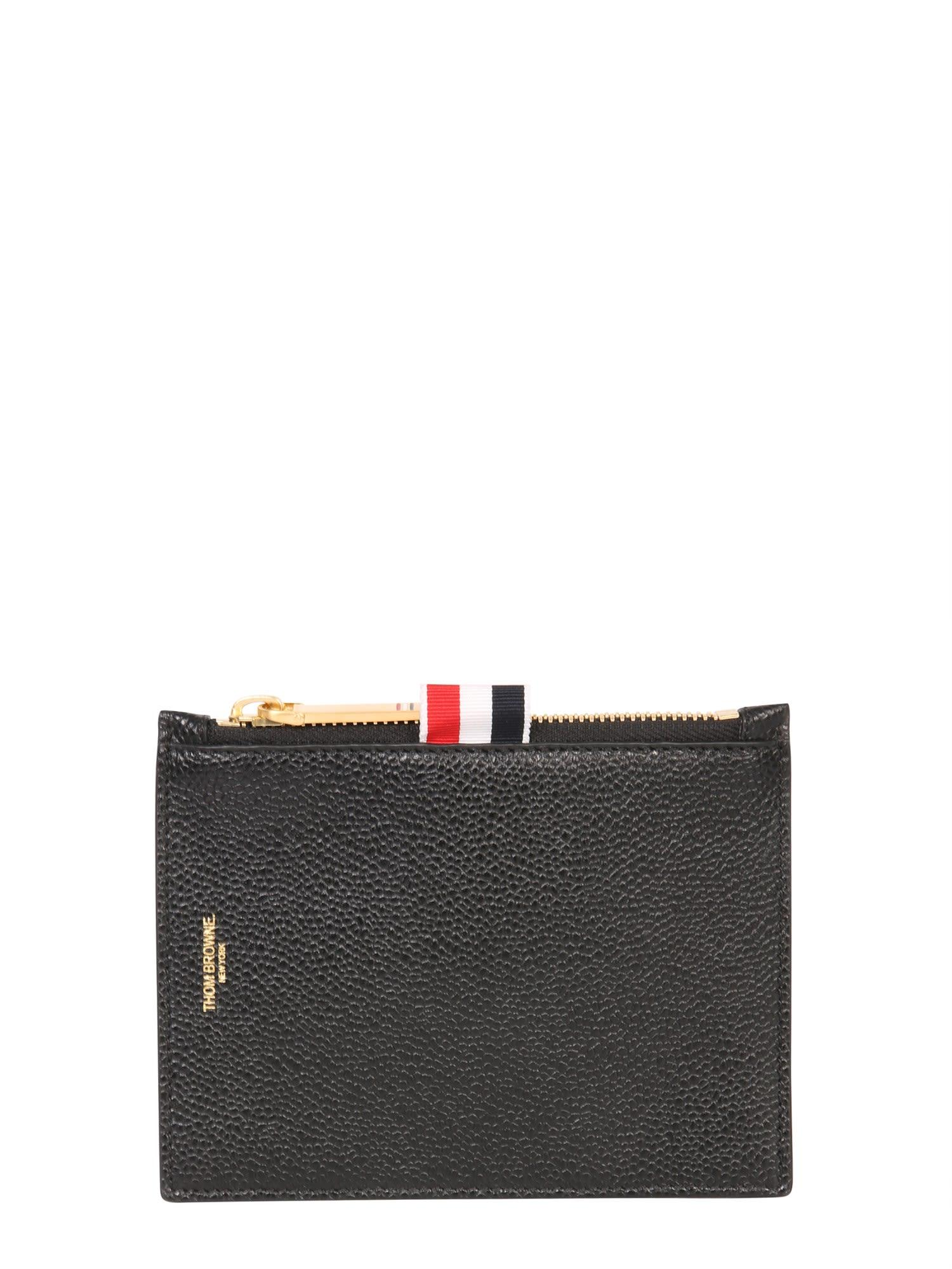 Thom Browne Grained Leather Card Holder In Nero