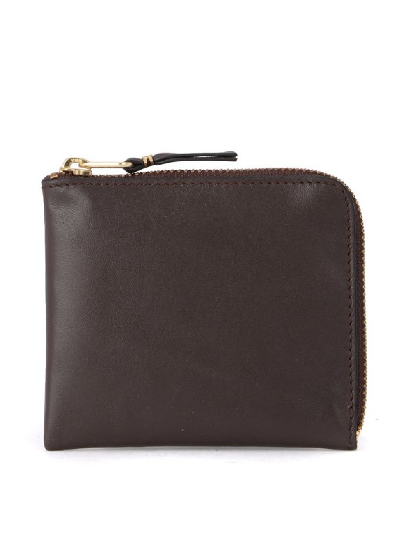 Comme Des GarÇons Brown Leather Coin Pocket. In Marrone